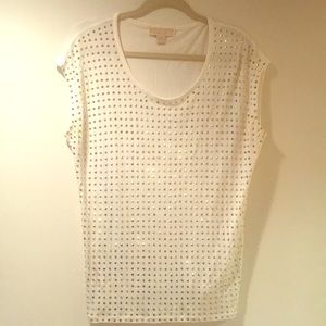 Michael Kors gold studded white cap sleeve top